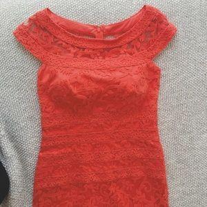 Tadashi Shoji red/coral midi dress